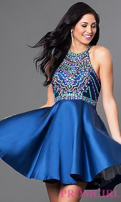 Short Racerback Homecoming Dress with Beaded Bodice at PromGirl.com