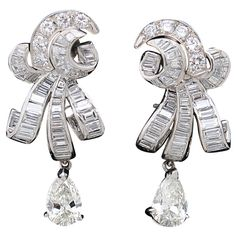 Exquisite Diamond Swirl Clip Earrings with Removable Pear Drops
