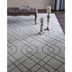 Safavieh Hand-knotted Tibetan Modern Geometric White Wool Rug (9' x 12') (TB052A-9), Size 9' x 12'