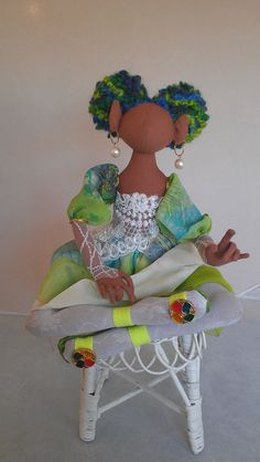 african american  faerie doll by paintedthreads2 on Etsy, $90.00