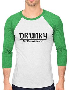 3d3fe30d0 Drunky McDrunkerson Funny St. Patrick's 3/4 Sleeve Baseball Jersey Shirt at  Amazon Men's Clothing store: