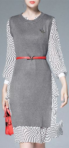 Long Sleeve Dress With Slit Knitwear