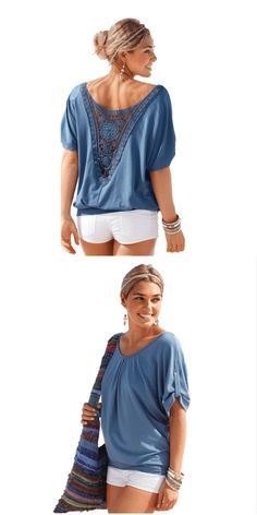 Crochet Applique Tee Back Short Sleeve Blouse: This short sleeve blouse features a crochet details that add a chic finish to a casual outfit. Pair it with your favorite jeans or shorts.