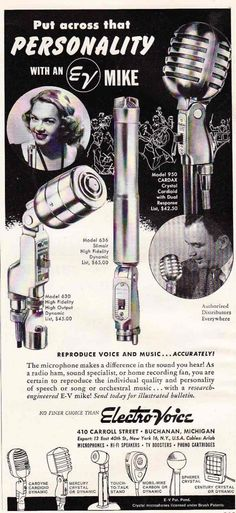 The Electro-Voice model 630 microphone is in our arsenal as well!
