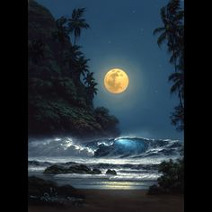 """""""Midnight Gold"""" by Hawaii seascape artist, Roy Tabora. Moon Pictures, Pretty Pictures, Beautiful Moon, Beautiful Places, Beautiful Scenery, Symphony Of The Seas, Shoot The Moon, Jolie Photo, Nocturne"""