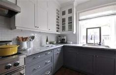 kitchen white upper kitchen cabinets gray blue lower kitchen cabinets ...