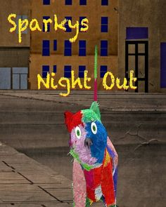 About a Pink Green, Blue, Red, patchy furry cat named Sparky, who is going downtown with her buddies, where they will  Hunt mice all around the streets.