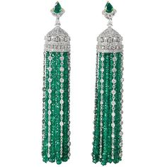Important Emerald Diamond Gold Tassel Earrings | From a unique collection of…