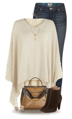 """""""Fall Poncho"""" by houston555-396 ❤ liked on Polyvore featuring Paige Denim, Accessorize, Fendi, Jill Stuart, Michael Kors and Blue Nile"""