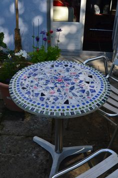 My recycled table  - mosaic using broken china that I'd collected.
