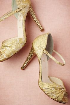 Brocade Glitter Heels from BHLDN... golden slippers? ... so pretty, pretty sure i'd fall on my face in them though.