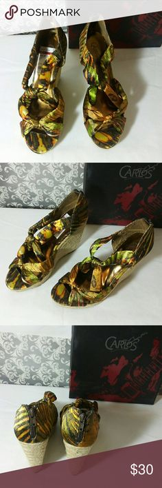 CARLOS SANTANA GREEN TAN COLOR WEDGES. Worn couple of times in great condition. I still have the box, very comfortable shoes. Carlos Santana Shoes Wedges