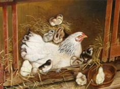 Hen and Chickens - Cross stitch pattern pdf format Hen Chicken, Chicken Art, Hens And Chicks, Baby Chicks, Chicken Cross Stitch, Chicken Pattern, Chicken Painting, Rock Collection, Animal Paintings