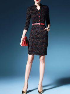 Printed V-neck Midi Shirt Dress