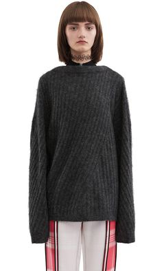 Acne Studios Virdis mohair dark grey melange Pullover sweater