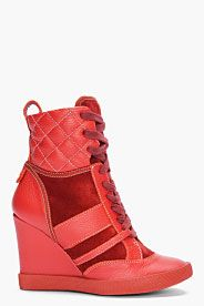 Wish list. CHLOE Red Wedge Sneakers