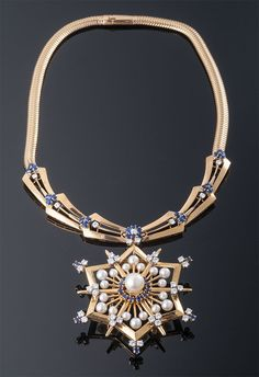 Sapphire and Diamond, Pearl Necklace with Snowflake Motif Pin/Pendant Attachement Gems Jewelry, Pearl Jewelry, Gemstone Jewelry, Antique Jewelry, Jewelery, Vintage Jewelry, Fine Jewelry, Vintage Necklaces, Sapphire Jewelry