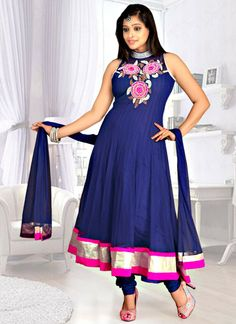 Blue Designer Anarkali Suit For USA   Check out this page now :-http://www.ethnicwholesaler.com/salwar-kameez