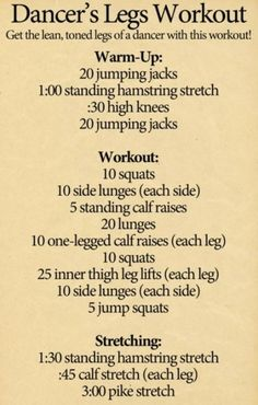 C'mon everyone wants dancer legs.Let's all admit it.With this workout you can have dancers legs in a shake.