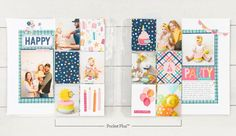 Scrapbooking Pockets for More Memory Space | Make It from Your Heart Pocket Scrapbooking, Scrapbooking Layouts, Scrapbook Pages, First Birthday Parties, First Birthdays, Birthday Cards, Happy Party, Pocket Cards, Basic Shapes