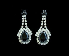 Rhinestone Drop Earrings  Pierced with Clear by SweetLenasRetro, $24.00