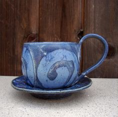 Stoneware Ceramic Coffee Cup and Saucer in Faded by BigBearPottery, $26.00