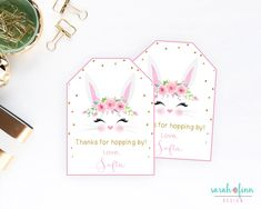 Favor tags bunny birthday bunny favor tags printable first bunny party favor tags printable birthday thank you tags hopping by first birthday easter gift tags negle Images
