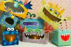 No, the boxes in monster look are a real eye-catcher for the nursery. No, the boxes in monster look are a real eye-catcher for the nursery. Fall Crafts For Kids, Diy For Kids, Diy And Crafts, Monster Box, Monster Party, Fall Halloween, Halloween Crafts, Monster Crafts, Valentine Day Boxes