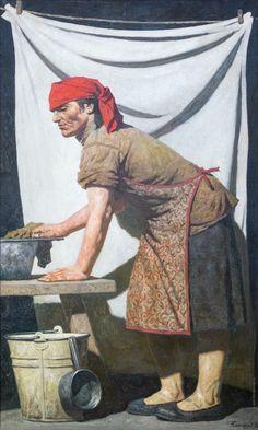Коржев-Чувелев, Гелий Михайлович.  Прачка. 1990—1992 Холст, масло, 200 х 120 Арт-фонд семьи Филатовых (ART RUSSE)