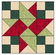 Quilt Square Patterns, Barn Quilt Patterns, Beginner Quilt Patterns, Pattern Blocks, Barn Quilt Designs, Quilting Designs, Quilt Blocks Easy, Star Blocks, Christmas Quilt Patterns