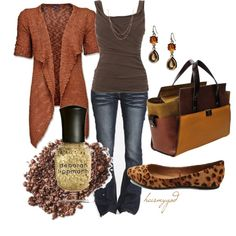 Brown and rust as a basic, neutral outfit for a DYT Type 3. Change out one piece for a statement piece to take it from basic to flashy!