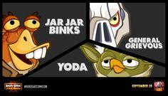 Jar Jar Binks, General Grievous and Yoda on Angry Birds Star Wars II