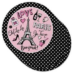 Paris Paper Coasters Eiffel Tower Bonjour Multicolor by Epic Products #Epic