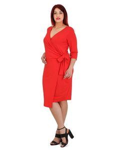 Κρουαζέ ζέρσεϋ εφαρμοστό φόρεμα με 3/4 μανίκι Wrap Dress, Cold Shoulder Dress, Dresses For Work, Fashion, Moda, Fashion Styles, Fashion Illustrations, Wrap Dresses
