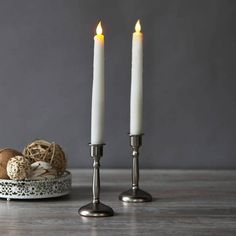 """Snow White 11""""Flameless  Drip Taper Candles, Set of 2"""