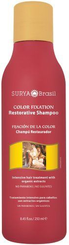 Surya Brasil - Henna Color Fixation Intensive Treatment Restorative Shampoo - 8.45 oz. by Surya Brasil. $7.49. No Animal Testing. Vegetarian. Surya BrasilRestorative Shampoo Color Fixation Intensive Treatment (250 ml) Surya Restorative Shampoo Color Fixation Intensive Treatment is infused with essential oils of Rose, Ylang Ylang, Jasmine, and Sandalwood. Surya Restorative Shampoo Color Fixation Intensive Treatment is a mild shampoo, free of Lauril, mineral o...