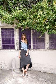 The Naomi High Low Skirt is handmade in San Francisco from buttery soft modal #vegan #madeinusa