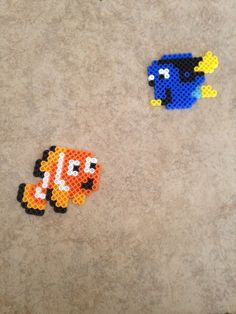 Found Nemo and Dory Easy Perler Bead Patterns, Melty Bead Patterns, Perler Bead Templates, Diy Perler Beads, Perler Bead Art, Beading Patterns, Loom Patterns, Loom Beading, Hamma Beads Ideas
