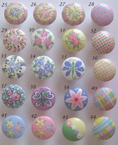 Childrens Drawer Knobs Nursery Cabinet Pulls - You choose the design/s Knobs And Handles, Drawer Knobs, Knobs And Pulls, Drawer Pulls, Door Knobs, Decoupage, Hand Painted Furniture, Kids Furniture, Rock Flowers