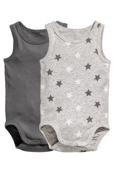2-pack sleeveless bodysuits - Grey - Kids | H&M GB