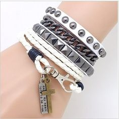 Leather bracelet with fashion rivet punk hand with couples bracelet   Tophandmade - Jewelry on ArtFire