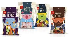Pams Confectionary Range will have you jumping with joy with their fun and  delectable sweet treats. Designed byBrother Design, each bag has a  colorful character filled with chocolate, Licoriceand gummies.