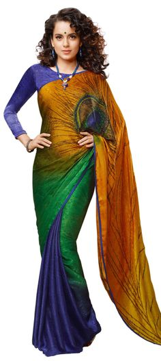 Buy Online from the link below. We ship worldwide (Free Shipping over US$100). Product SKU -  235857 .Product Link -  http://www.kalkifashion.com/shaded-saree-highlighted-in-peacock-motif-feather-with-stone-work.html
