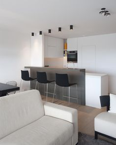Funky Living Rooms, Grey Kitchen Designs, Bedroom Closet Design, Apartment Interior Design, Cuisines Design, Home Kitchens, Interior Architecture, Small Spaces, Kitchen Decor