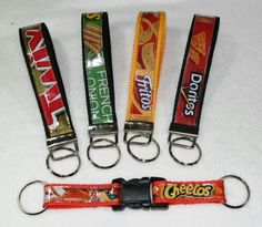 Wristlet key chains from recycled chip bags & candy wrappers (make great stocking stuffers) :)