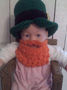 leprechan hat with a separate beard...also made a bowtie to go with it.