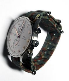 Suigeneric NYC Brit Camo Original Hand Waxed Cotton Watchstrap on IWC Portuguese