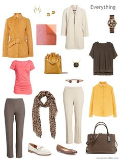 Tote Bag Travel capsule wardrobe in brown and ivory with gold and pink accents