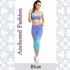 Ombre Bra and Cropped Legging Set This set is moisture wicking. Great quality legging and padded bra set. 65% Nylon, 30%Polyester and 5% Spandex. Kathy Pants Leggings