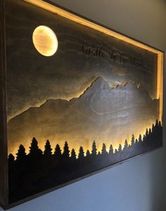 Wooden Wall Decor, Wooden Walls, Wood Wall Art, Mountain Decor, Mountain Art, Deco Originale, Tree Silhouette, Home Room Design, Diy Home Crafts